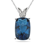 18.11 Cts of 18x13 mm AAA Cushion Checker Board London Blue Topaz Scroll Solitaire Pendant in 14K White Gold