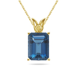 18.18 Cts of 18x13 mm AAA Emerald Cut London Blue Topaz Scroll Solitaire Pendant in 14K Yellow Gold