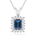 0.36 Cts Diamond & 1.03 Ct London Blue Topaz Cluster Pendant-14KW Gold