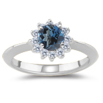 0.48 Cts Diamond & 4.01 Cts London Blue Topaz Ring in 14K White Gold