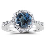 0.17 Cts Diamond & 0.52 Cts London Blue Topaz Ring in 14K White Gold