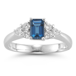 0.48 Cts Diamond & 0.89 Cts London Blue Topaz Ring in 14K White Gold