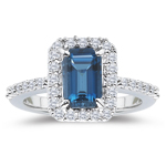 0.52 Cts Diamond & 5.89 Cts London Blue Topaz Ring in 14K White Gold