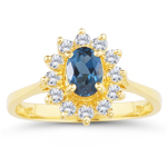 0.32 Cts Diamond & 1.33 Cts London Blue Topaz Ring in 14K Yellow Gold