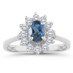 0.42 Cts Diamond & 2.03 Cts London Blue Topaz Ring in 18K White Gold