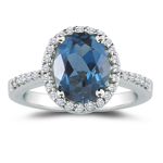 0.23 Cts Diamond & 1.33 Cts London Blue Topaz Ring in 14K White Gold