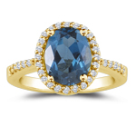 0.23 Cts Diamond & 1.33 Cts London Blue Topaz Ring in 14K Yellow Gold