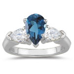 0.20 Cts Diamond & 6.02 Cts London Blue Topaz Three Stone Ring in 14K White Gold