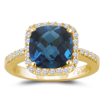 0.26 Cts Diamond & 1.42 Cts London Blue Topaz Ring in 14K Yellow Gold