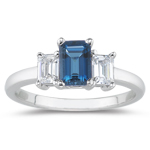 0.33 Cts Diamond & 1.46 Cts London Blue Topaz Three Stone Ring in Platinum