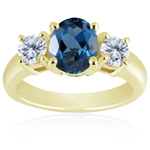 0.10 Cts Diamond & 2.03 Cts London Blue Topaz  Three Stone Ring in 14K Yellow Gold