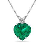 0.80-0.85 Cts of 6 mm AAA Heart Lab Created Emerald Scroll Solitaire Pendant in 14K White Gold