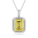 2.90 Ct 10x8 mm AA Emerald Lemon Quartz Solitaire Pendant in 14KW Gold