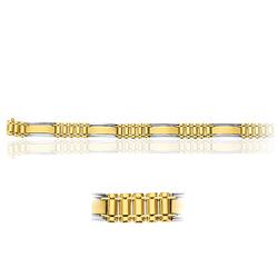 Men's Fancy Link in 14K Two Tone Gold ( 25.40 Grams)