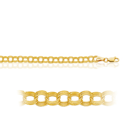 7.00 Inches Triple Link Bracelet  in 14K Yellow Gold