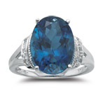 0.03 Cts Diamond & 8.25 Cts AAA London Blue Topaz Ring in 14K White Gold