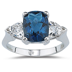 3.03 Cts London Blue Topaz & 2.20 Cts White Topaz Three Stone Ring in 14K White Gold