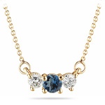 4 mm London Blue Topaz & 1/4 Cts Diamond Pendant in 18K Yellow Gold