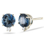 0.06 Ct Diamond & 3.10 Ct 7mm Round London Blue Topaz Studs- 14KY Gold