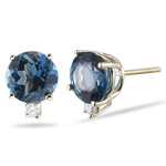 0.06 Cts Diamond & 3.10 Cts London Blue Topaz (7mm Round) Stud Earrings in 14K Yellow Gold
