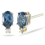 0.02 Cts Diamond & 1.14 Cts London Blue Topaz (6x4 Oval) Stud Earrings in 14K Yellow Gold