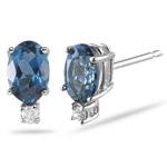 0.02 Ct Diamond & 1.14 Ct 6x4 Oval London Blue Topaz Studs - 14KW Gold