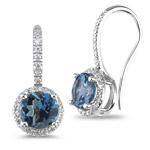 0.26 Cts Diamond & 2.93 Cts London Blue Topaz Earrings-14K White Gold