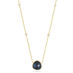0.32 Cts Diamond & 7.44 Cts London Blue Topaz Yard Necklace- 14KY Gold