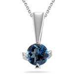 1.00 Ct of 6 mm AA Round London Blue Topaz Solitaire Pendant in Silver