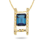 0.08 Cts Diamond & 2.66 Cts London Blue Topaz Pendant in 14K Yellow Gold