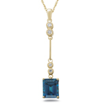 0.15 Cts Diamond & 2.88 Cts London Blue Topaz Pendant- 14K Yellow Gold