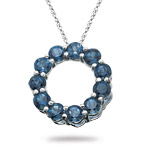2.74 Cts London Blue Topaz Circle Pendant in 14K White Gold