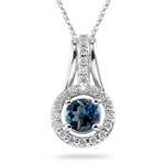0.33 Ct Diamond & 1.00 Cts London Blue Topaz Pendant in 14K White Gold