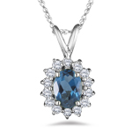 1.85 Ct Diamond & London Blue Topaz Pendant in 18K White Gold