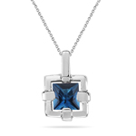 1.18 Ct 6 mm AA Princess London Blue Topaz Solitaire Pendant in Silver