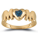 0.27 Cts London Blue Topaz Solitaire Heart MOM Ring in 14K Yellow Gold
