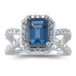 0.70 Cts Diamond & 2.01 Cts of 9x7 mm AA Emerald Cut London Blue Topaz Ring in 14K White Gold