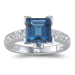 0.37 Cts Diamond & 2.70 Cts London Blue Topaz Ring in 14K White Gold