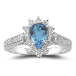 0.44 Ct Diamond & 0.85 Cts London Blue Topaz Ring in 18K White Gold