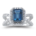 0.63 Cts Diamond & 1.20 Cts London Blue Topaz Ring in 14K White Gold