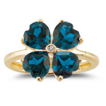 0.01 Cts Diamond & 8.00 Cts London Blue Topaz Ring in 14K Yellow Gold