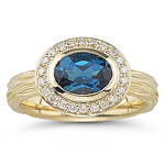 0.22 Ct Diamond & 1.58 Cts London Blue Topaz Ring in 14K Yellow Gold