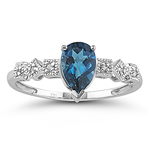 0.03 Cts Diamond & 1.00 Ct London Blue Topaz Ring in 14K White Gold