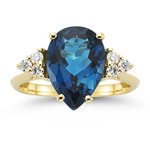 0.18 Cts Diamond & 4.28 Cts AAA London Blue Topaz Ring in 14K Yellow Gold
