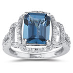 0.29 Ct Diamond & 2.66 Cts London Blue Topaz Ring set in 14K White Gold