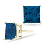 9 mm Princess Cut London Blue Topaz Stud Earrings in 18K Yellow Gold