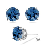 10 mm Texas Star Cut London Blue Topaz Stud Earrings in Platinum