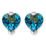 1.78 Ct 6 mm AA Heart London Blue Topaz Heart Stud Earrings- 14KW Gold