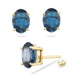 1.80-2.55 Cts of 7x5 mm AAA Oval London Blue Topaz Stud Earrings in 14K Yellow Gold