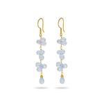 10.00+ Cts Briolette Swiss Blue Topaz Dangle Earrings in 18K Yellow Gold